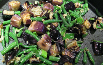 Grilled Green Bean and Eggplant Salad