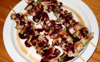 Rosemary Chicken Kabobs with Berry Sauce