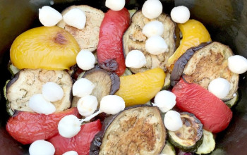 Grilled Marinated Vegetables with Mozzarella
