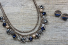Vintage Elegant Blue Necklace and Earring Set