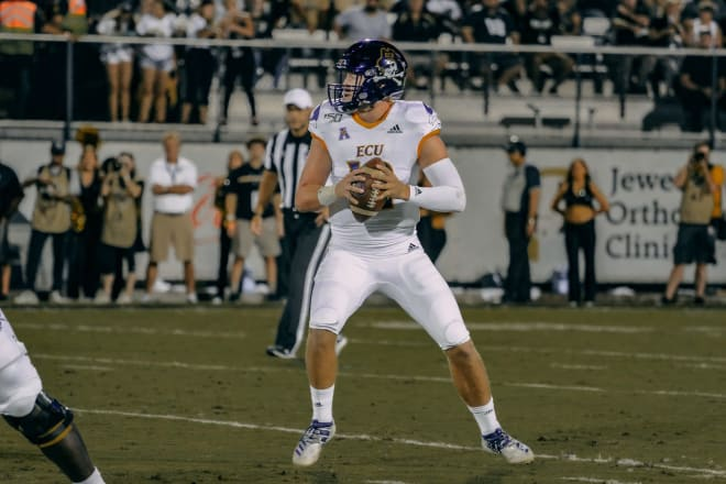East Carolina quarterback Holton Ahlers passed for a season high 313 yards in a 41-28 loss to UCF.