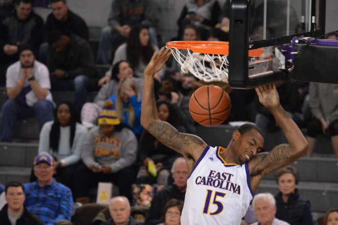 Kentrell Barkley had a double-double with 18 points and ten rebounds to go along with seven steals and three dunks in East Carolina's 90-52 win over South Florida Wednesday night in Williams Arena at Minges Coliseum.
