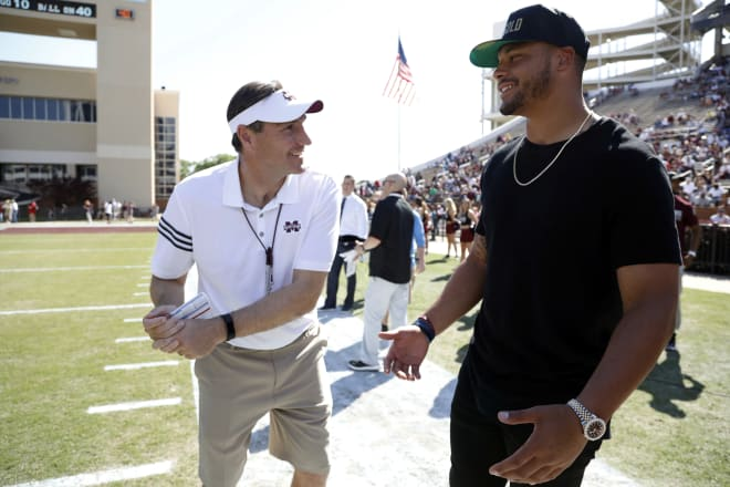 Dan Mullen welcomed Cowboys quarterback Dak Prescott to the Miss. State spring game.
