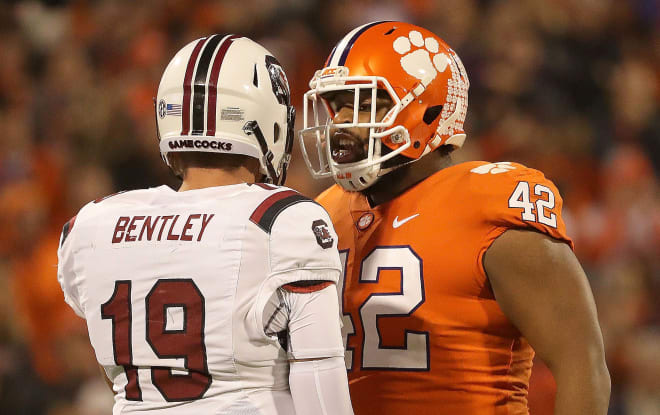 A fiery Christian Wilkins is shown here having a few words with Gamecock quarterback Jake Bentley in Death Valley last November.