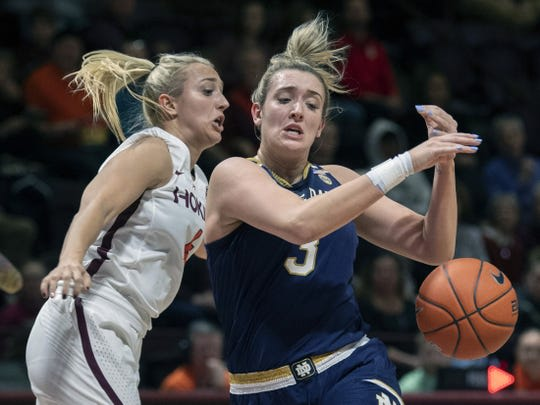 Notre Dame graduate transfer Dara Mabrey (left) during her time at Virginia Tech