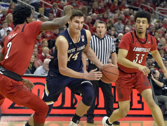 Freshman Nate Laszewski converted nine of his last 13 three-pointers the past two games, but an injury yesterday leaves him questionable versus Louisville.