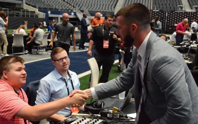 Kansas State quarterback Skylar Thompson speaking with Mason Voth and John Kurtz of KMAN.