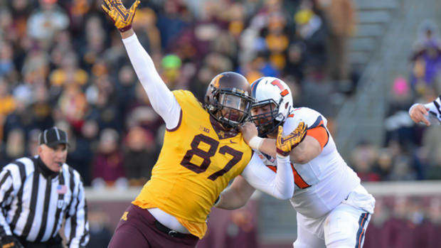 Minnesota graduate transfer D-End Gaelin Elmore chose the Pirates over Arizona and others.