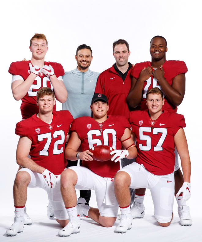 Top Row: From left, James Pogorelc, offensive coordinator Tavita Pritchard, offensive line coach Kevin Carberry, Myles Hinton. Front Row: From left, Connor McLaughlin, Drake Metcalf and Levi Rogers.