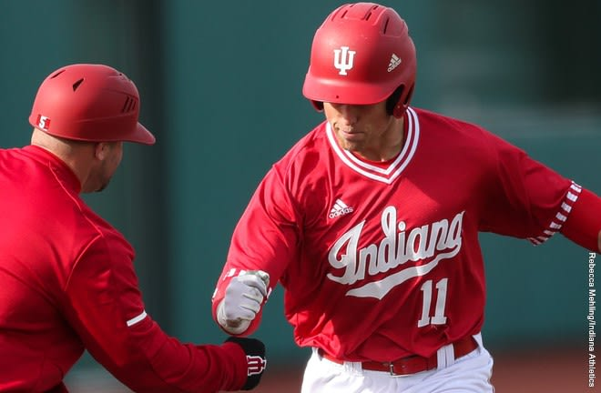 Logan Kaletha has reached base safely in 19 of Ihis 20 games played this season. The center fielder's sixth inning home run gave IU the lead it would never surrender Friday afternoon.
