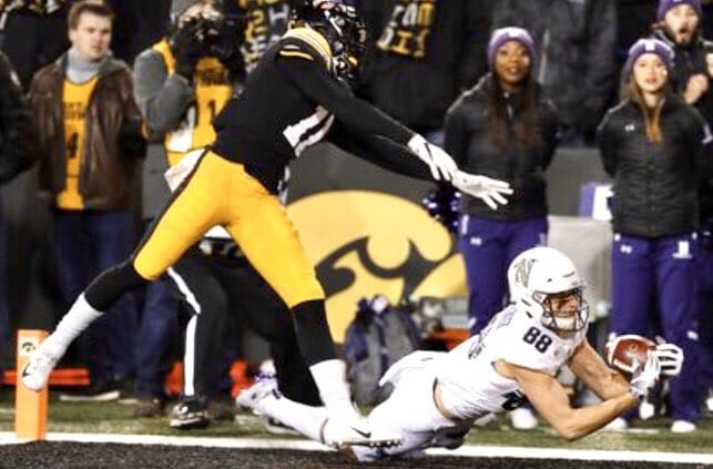 Bennett Skowronek made the catch that clinched NU's win over Iowa and a BIg Ten West title in 2018.