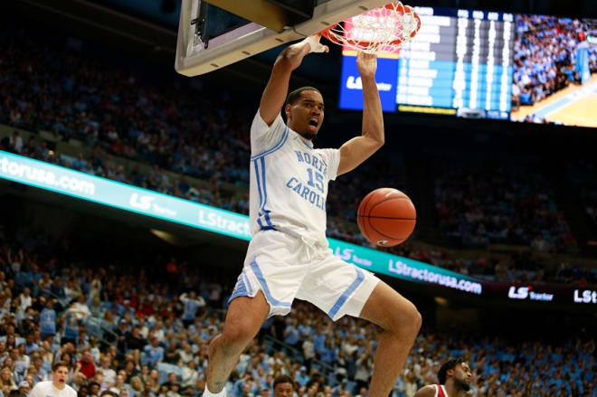 North Carolina's junior big man, Garrison Brooks had a dominant performance to help his team rally from behind to get a narrow victory over NC State.  (Photo: Jenna Miller/Tar Heel Illustrated.)