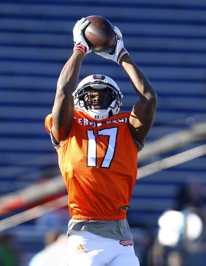 South defensive back Jimmy Moreland of James Madison leaps for an interception during Senior Bowl practice on Thursday in Mobile, Ala.