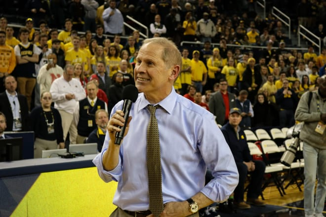 John Beilein addresses the crowd after the last home game.