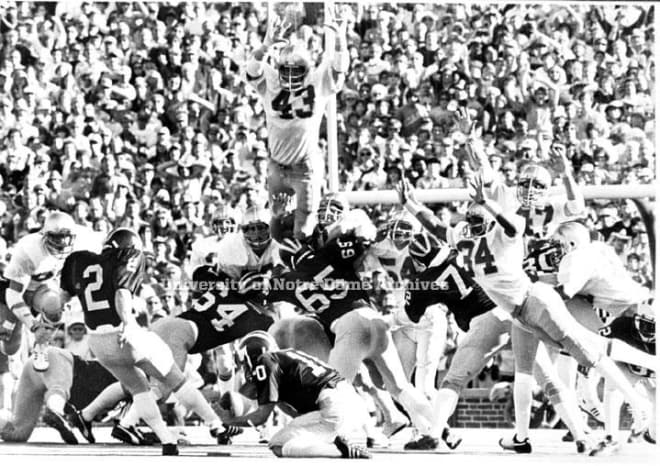 One of Bob Crable's (43) signature moments was blocking this Michigan field goal attempt in 1979 with seconds left to preserve a 12-10 Notre Dame win.
