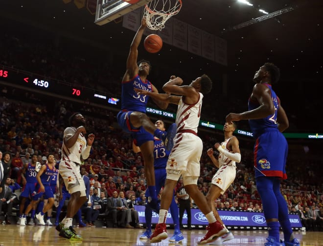 Kansas' sophomore center, David McCormack played very well in his team's win over Iowa State.  (Photo: Reese Strickland/USA Today Sports, via Jayhawk Slant.)