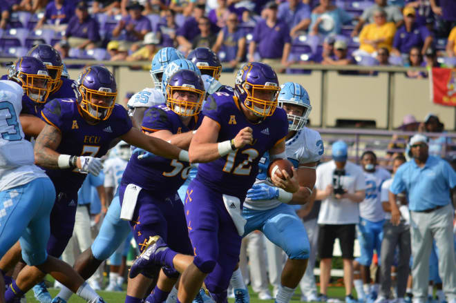 ECU quarterback Holton Ahlers' status for Saturday's game will likely be a game day decision for Scottie Montgomery.