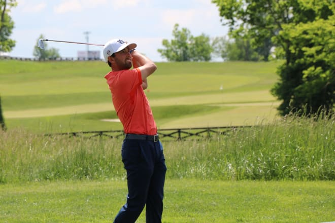 Jacob Solomon birdied the final two holes Tuesday to help Auburn build a big lead.