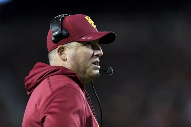 USC coach Clay Helton is hoping to lead his Trojans to a fifth win in six games as they host UCLA on Saturday.