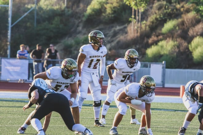 Notre Dame quarterback commit Tyler Buchner accounted for 431 yards of total offense and six touchdowns in La Jolla (Calif.) The Bishop's School's 75-26 victory versus Escondido (Calif.) Classical Academy.