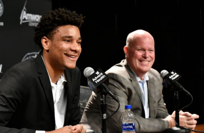 Okeke and Magic head coach Steve Clifford at Okeke's introductory press conference.