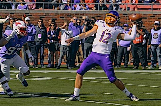 Quarterback Holton Ahlers loads up for one of his personal record  six touchdowns on the day in a 59-51 loss at (25)SMU.