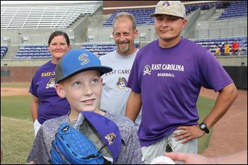 The ECU baseball team did a good deed through the Make a Wish Foundation for James Elpers.