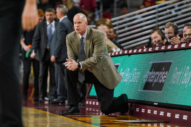 Tad Boyle in L.A. during the Buffs' Feb. 9, 2019 road win over USC.