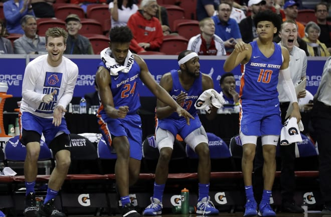 The Boise State bench reacts during the second half of a Mountain West Conference tournament NCAA college basketball game against UNLV Thursday, March 5, 2020, in Las Vegas. Boise State defeated UNLV 67-61.