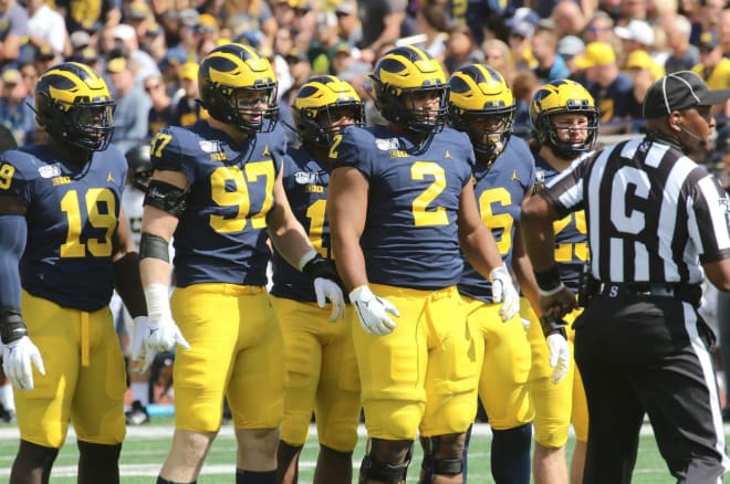 The Michigan Wolverines' football defensive line is allowing opponents to average three yards per carry so far this season, which ranks 35th in college football.