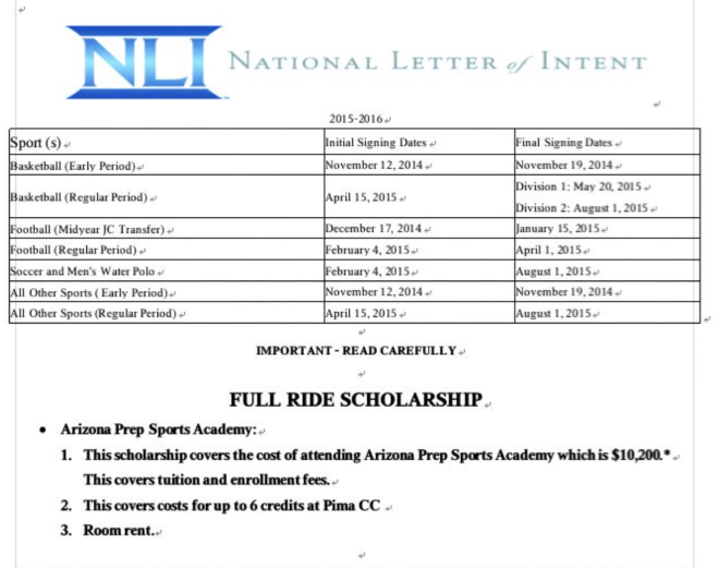 One player's National Letter of Intent to play for Jeffrey Pichotta at Arizona Prep Sports Academy