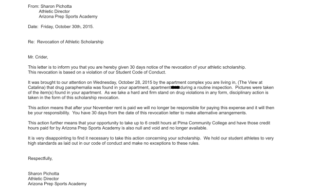 Sharon Pichotta's notice of Revocation of Athletic Scholarship to James Crider