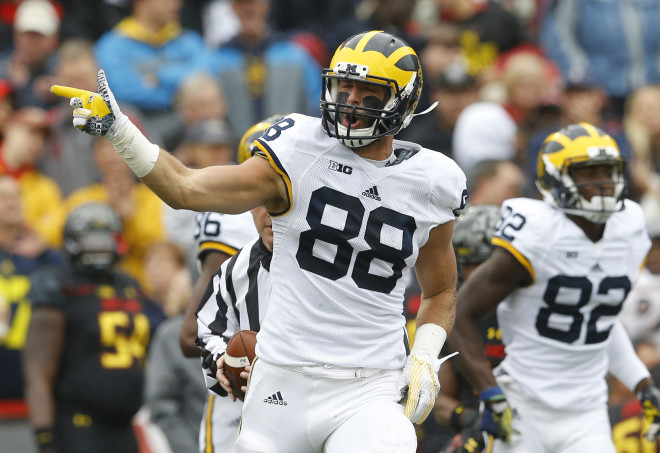 Michigan tight end Jake Butt probably saw his stock raise as much as any player this past season in Jim Harbaugh's pro-style offense.