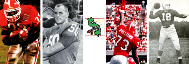 """From Bulldog """"bargains,"""" like (L to R) Terrell Davis and Len Hauss, to """"busts,"""" err, those first-rounders who unfortunately didn't pan out, like a giant lineman/kick-blocking extraordinaire, and perhaps the greatest UGA quarterback of all time..."""