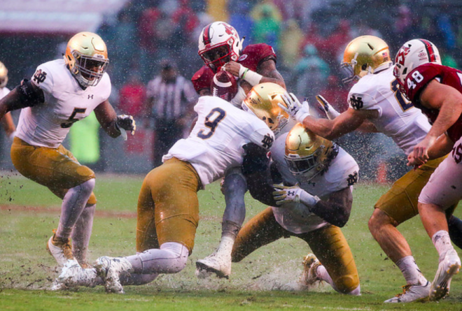 Josh Adams, Notre Dame offensive line plow through NC State