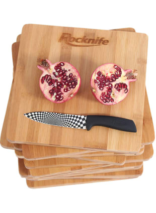 10 inch square chopping board with pomegranate