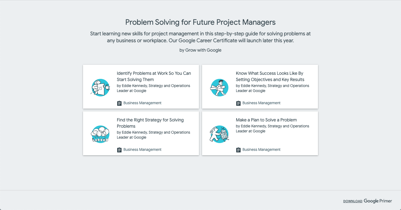 Update on Google's Project Management Certification