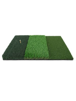 """Ram Golf Tri-Surface Practice Hitting Mat - Fairway, Rough and Tee Box - 16"""" x 25"""" - Drives, Approach Shots, Chips and More!"""