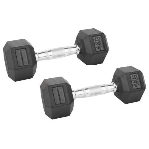 Confidence Fitness 4kg Rubber Hex Dumbbell Set
