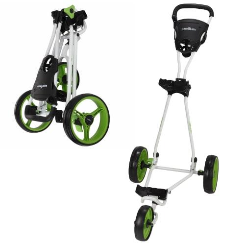 Caddymatic Golf Continental 3 Wheel Folding Golf Push/Pull Trolley White/Green
