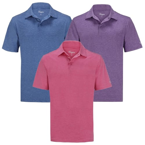 Forgan of St Andrews Premium Heather Golf Shirts 3 Pack - Mens