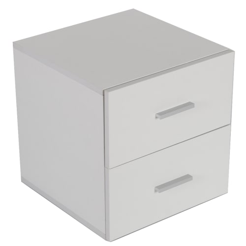 Homegear Bedroom 2 Drawer Bedside Table, White
