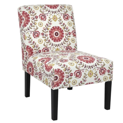 OPEN BOX Homegear Home Furniture Accent Armless Chair - Contemporary Designs - Floral