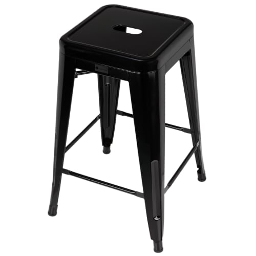 Homegear 4 Pack Stackable Metal Kitchen Stools - Black