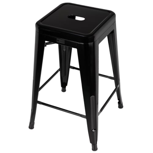 OPEN BOX Homegear 4 Pack Stackable Metal Kitchen Stools - Black