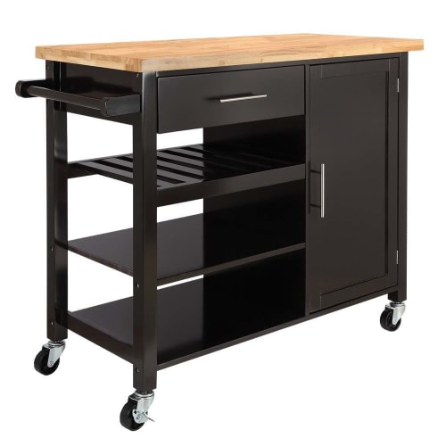 Homegear Utility V3 Kitchen Cart with Storage Cabinet Island on Wheels