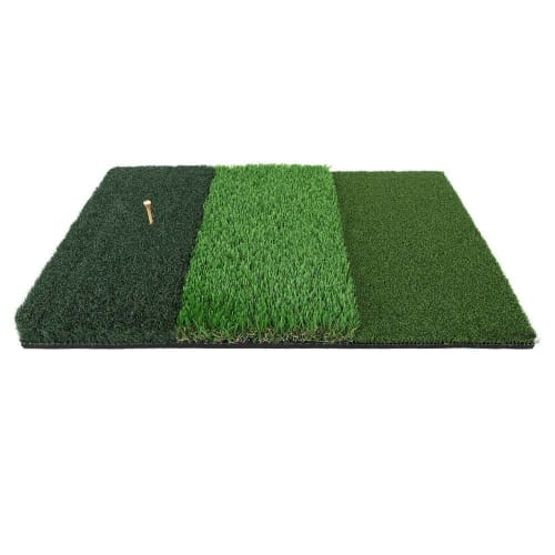 Ram Golf Tri-Surface Practice Hitting Mat - Fairway, Rough and Tee Box - 16