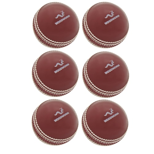 Woodworm Cricket 6 Pack Incrediball Soft Cricket Balls, Red