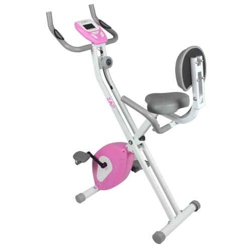 ZAAP Fitness Folding Recumbent Upright Exercise Bike - White/Pink
