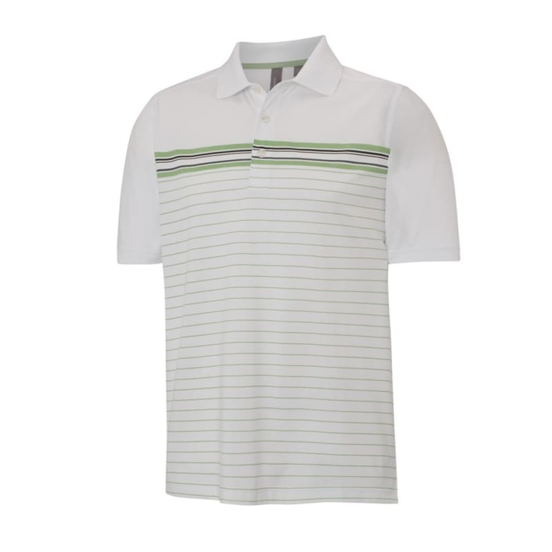 Ashworth Mens Striped Mesh Polo White / Meadow